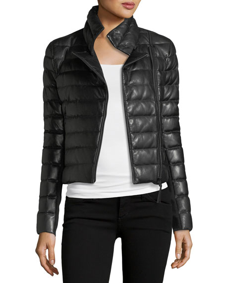 Mackage Ulani Zip-Front Quilted Puffer Leather Jacket