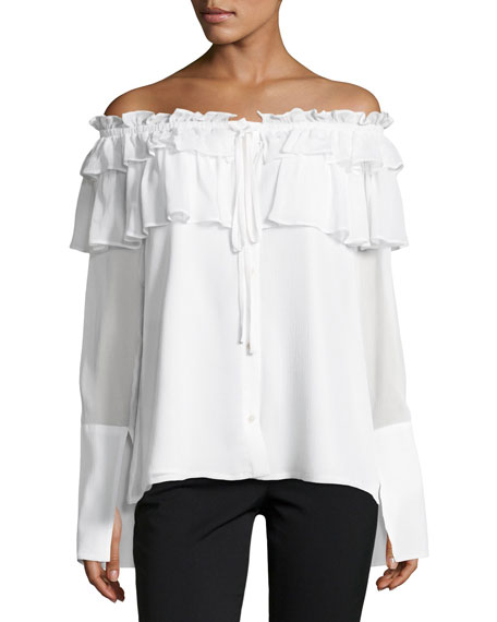 Crinkle Off-the-Shoulder Chiffon Layered Top
