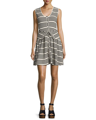 Striped Button-Front Sleeveless Cotton Dress