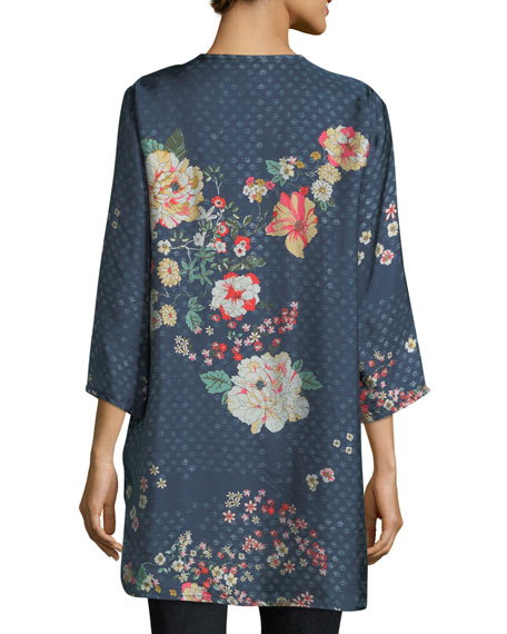 Ludios Tie-Front Floral-Print Georgette Tunic