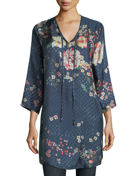 Johnny Was Ludios Tie-Front Floral-Print Georgette Tunic