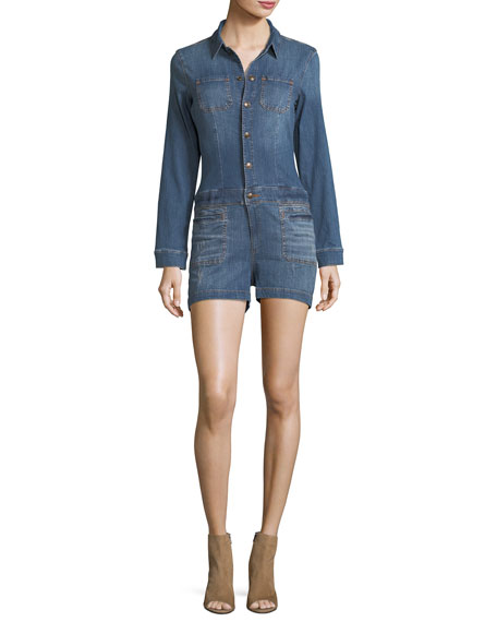 True Religion Long-Sleeve Snap-Front Collared Denim Jumpsuit