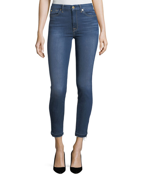 7 For All Mankind High-Waist Ankle-Skinny Jeans w/