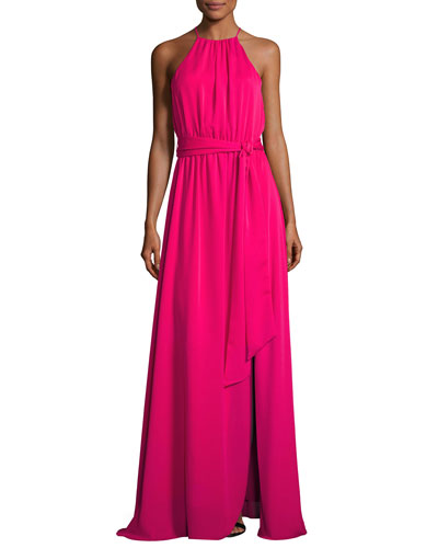 Sleeveless Round-Neck Flowy Gown W/ Sash