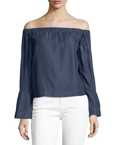 Off-the-Shoulder Long-Sleeve Denim Top