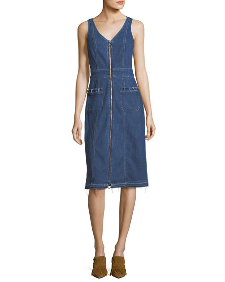 7 For All Mankind V-Neck Zip-Front Sleeveless Denim