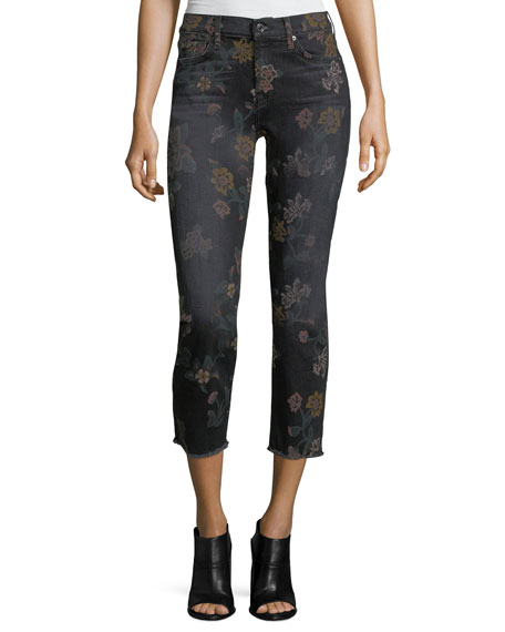 7 For All Mankind Roxanne Floral-Print Skinny Ankle