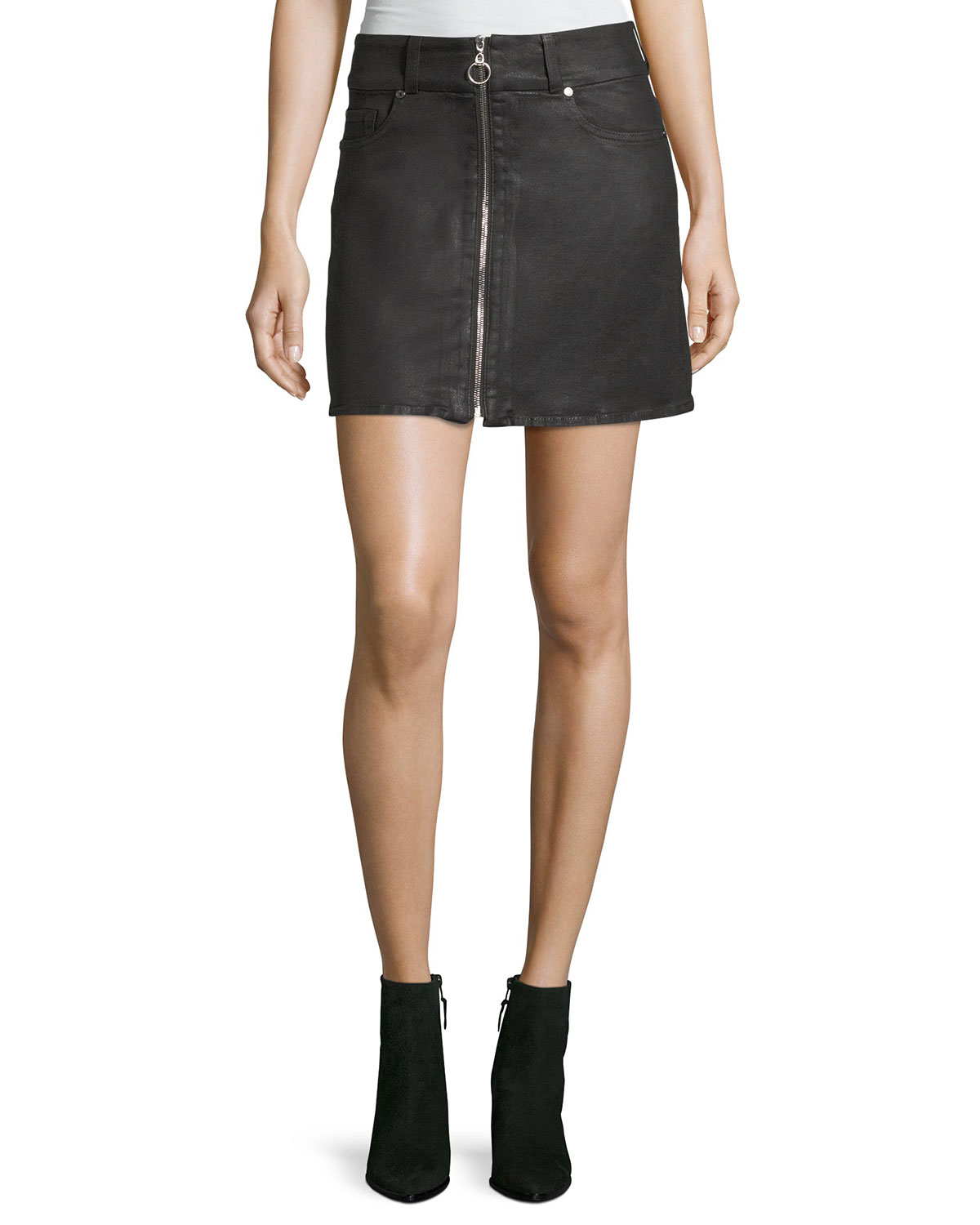 7 for all mankind Zip-Front A-line Mini Skirt | Neiman Marcus