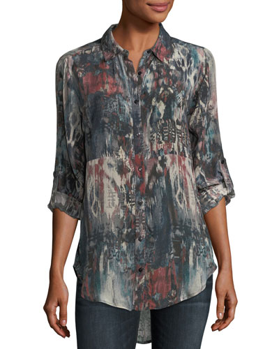 Evelyn Button-Front Abstract-Print Silk Tunic, Plus Size