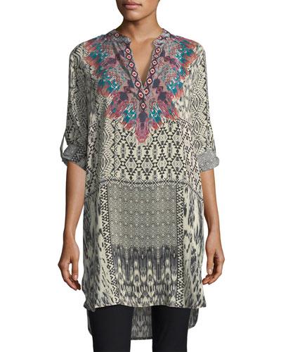 Skyler Long Ikat-Print Silk Tunic, Plus Size