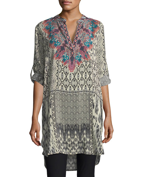 Skyler Long Ikat-Print Silk Tunic, Plus Size