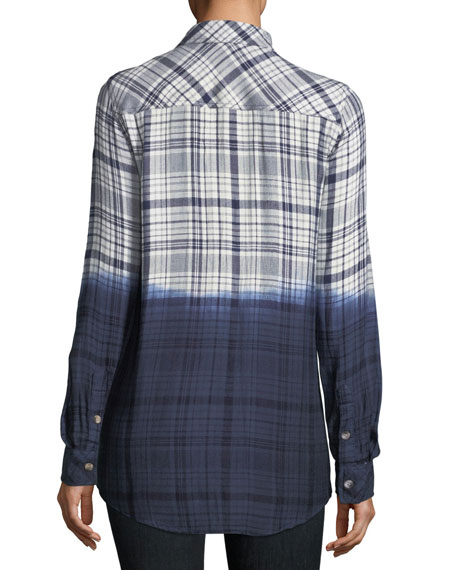 Emma Long-Sleeve Dip-Dyed Plaid Button-Front Shirt, Plus Size
