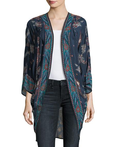 Shara Printed Kimono Jacket, Marina