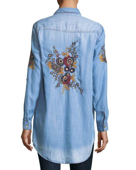 Tina Denim Embroidered-Back Tunic