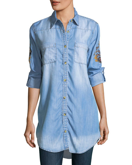 Tolani Tina Denim Embroidered-Back Tunic