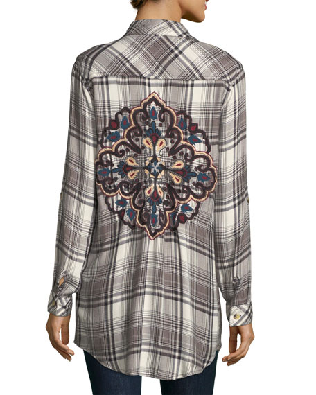 Tina Plaid Embroidered-Back Tunic, Plus Size