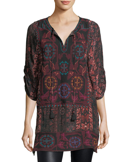 Adora 3/4-Sleeve Embroidered Printed Tunic, Plus Size