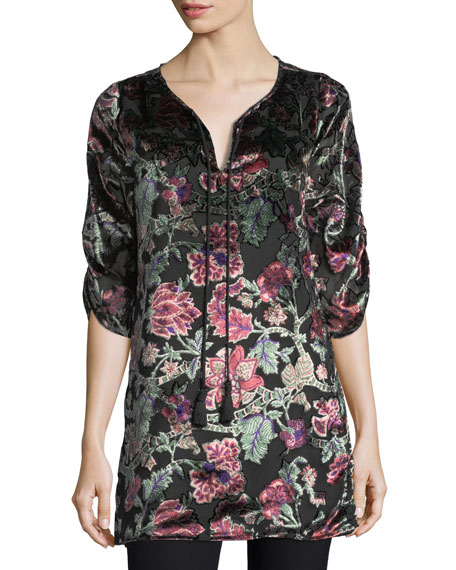 Joan Floral Velvet Burnout Long Tunic, Plus Size