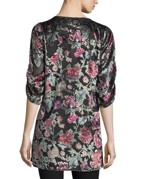 Joan Floral Velvet Burnout Long Tunic