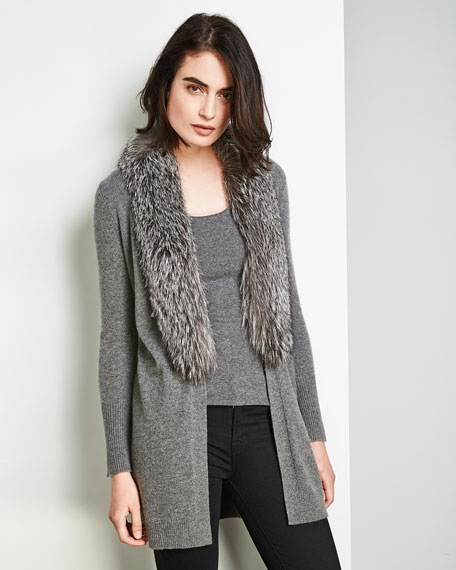 Luxury Oversized Cashmere Cardigan w/ Fox Fur Collar