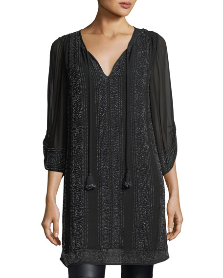 Vixi 3/4-Sleeve Micro-Studded Tunic, Plus Size