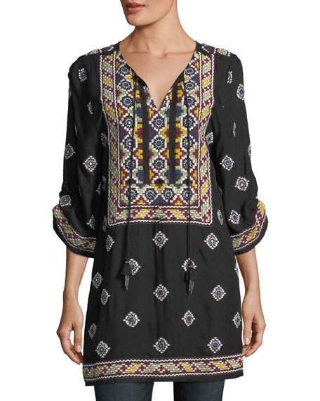 Malti 3/4-Sleeve Embroidered Tunic