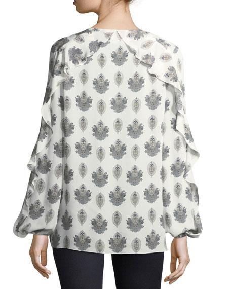 Cordelia Long-Sleeve Lace-Up Silk Blouse