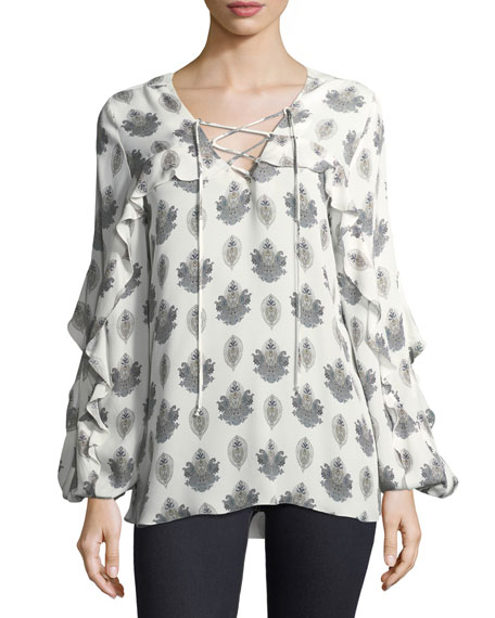 Cordelia Long-Sleeve Lace-Up Silk Blouse
