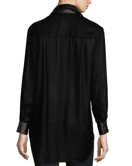 Monica Long-Sleeve Velvet Blouse w/ Satin Trim