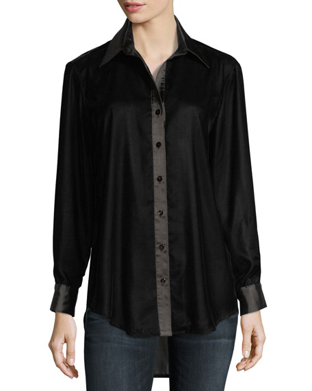 Finley Monica Long-Sleeve Velvet Blouse w/ Satin Trim