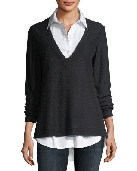 Finley Samantha Shirting & Pullover Combo Top