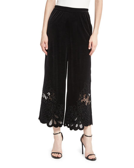 Amaris Velvet Wide-Leg Cropped Pants