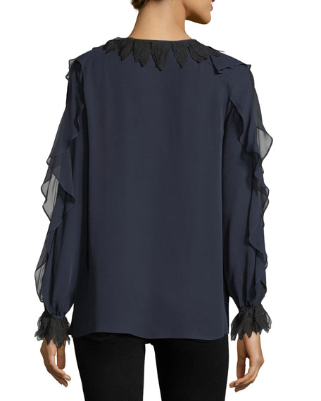 Briley Long-Sleeve Ruffled Silk Blouse