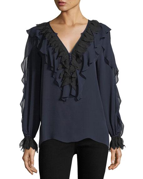 Kobi Halperin Briley Long-Sleeve Ruffled Silk Blouse