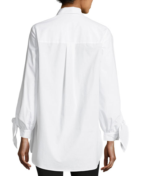 Serafina Tie-Sleeve Button-Front Cotton Blouse