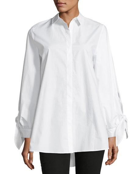 Serafina Tie-Sleeve Button-Front Cotton Blouse
