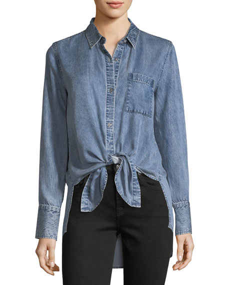 7 For All Mankind Button-Front High-Low Tie-Hem Denim