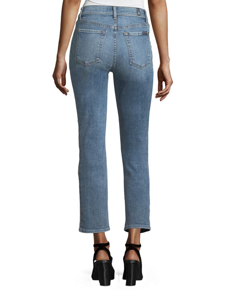 Edie Straight-Leg Denim Jeans w/ Reverse Panels