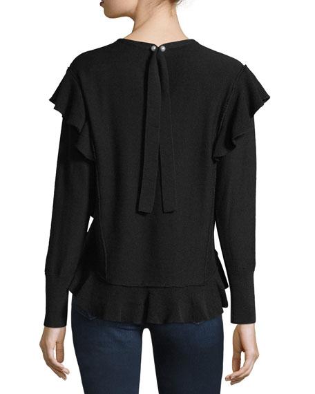 Marcelle Ruffled Extrafine Merino Wool Sweater