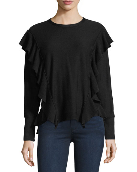 Marcelle Ruffled Extrafine Merino Wool Sweater