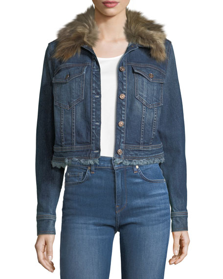 7 for all mankind Cropped Button-Front Boyfriend Denim