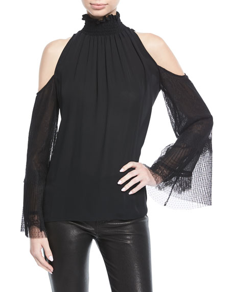 Gianna Lace-Sleeve Silk Blouse