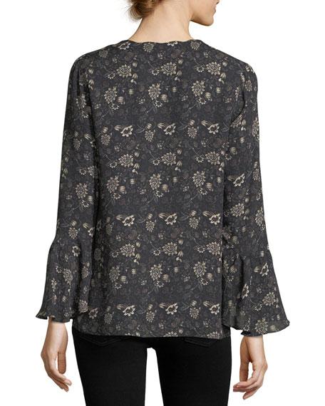 Saphira Long-Sleeve Floral-Print Silk Blouse