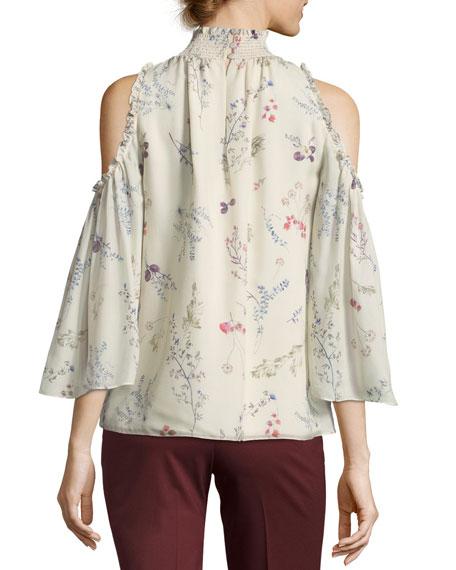 Callahan Cold-Shoulder Floral-Printed Chiffon Blouse