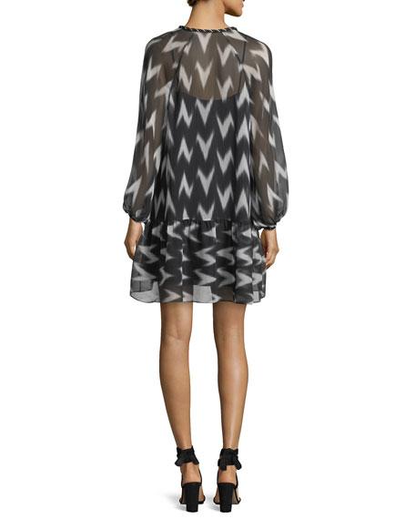 Carolina V-Neck Printed Chiffon Dress