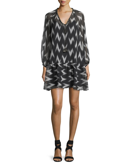 Rachel Zoe Carolina V-Neck Printed Chiffon Dress