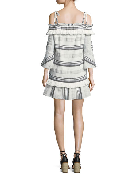 Covie Striped Cold-Shoulder Cotton Dress
