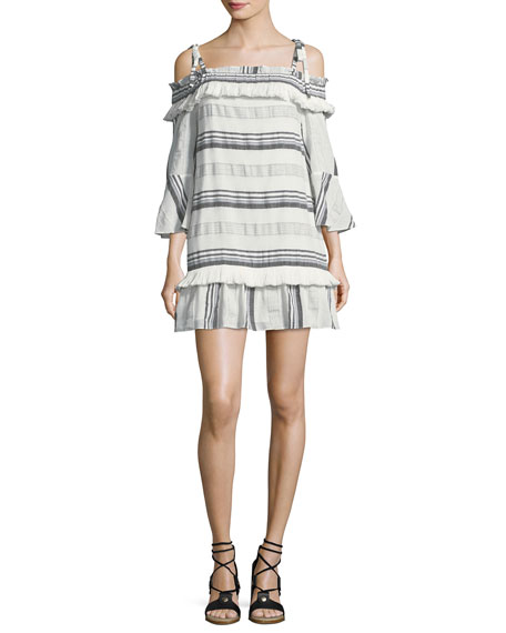 Rachel Zoe Covie Striped Cold-Shoulder Cotton Dress