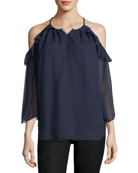 Rachel Zoe Aurora Cold-Shoulder Silk Blouse