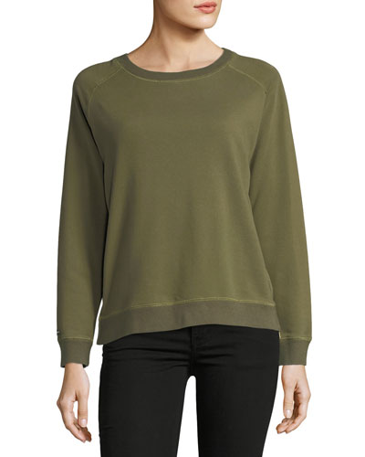 Natalie French Terry Side-Zip Sweatshirt w/ Floral Embroidery